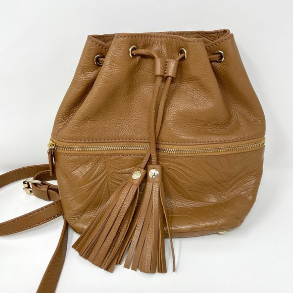 TOMMY BAHAMA Tan Leather Tassel Backpack